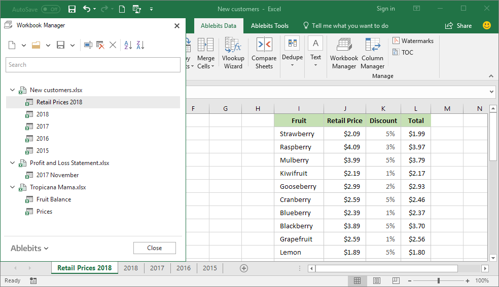Manage Excel workbooks: navigate, find, sort worksheets, and more