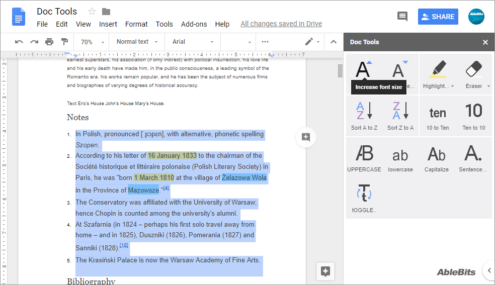 Increase font size in a click in Google Docs