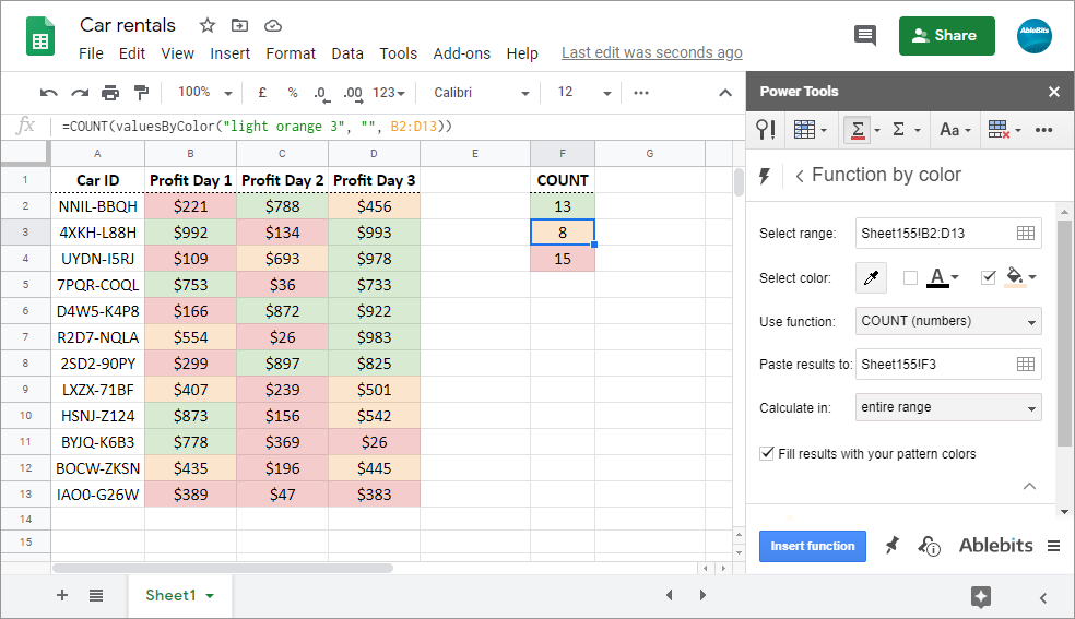 Count cells in Google Sheets by background color