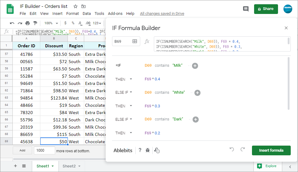 Split existing IF formulas in Google Sheets to pieces for easier editing