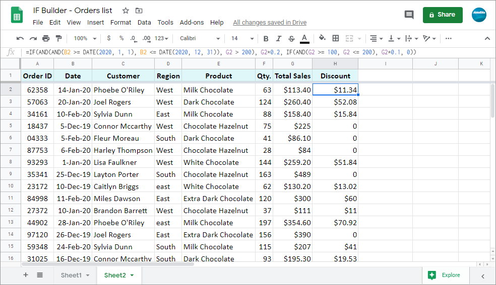 Create multiple IF statements for Google Sheets by copying one ready-made formula down the column