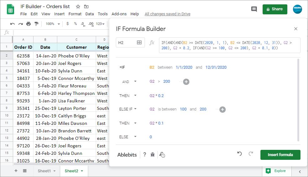 Preview the resulting formula, select a destination cell, and click <em>Insert formula</em>