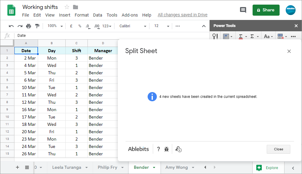 Have all new individual sheets created in the current (or a new) Google spreadsheet