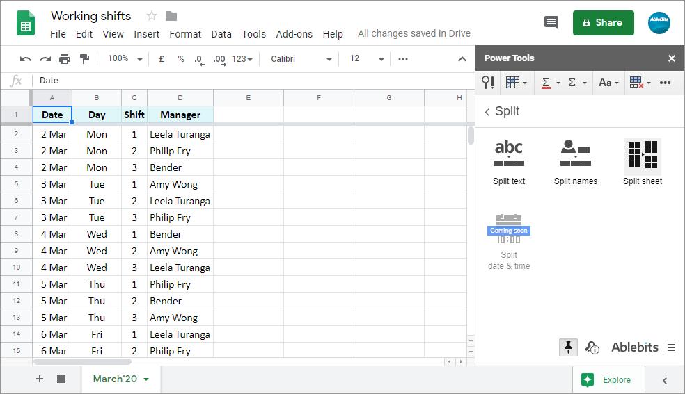 Find <em>Split Sheet</em> in Power Tools