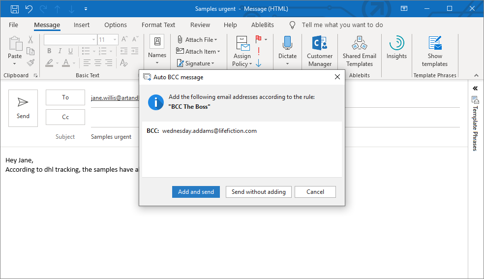 Auto BCC in Outlook 2019, 2016, 2013-2007 with simple rules