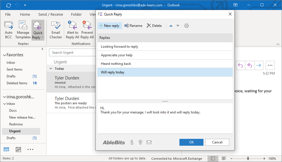 Create and manage your quick replies