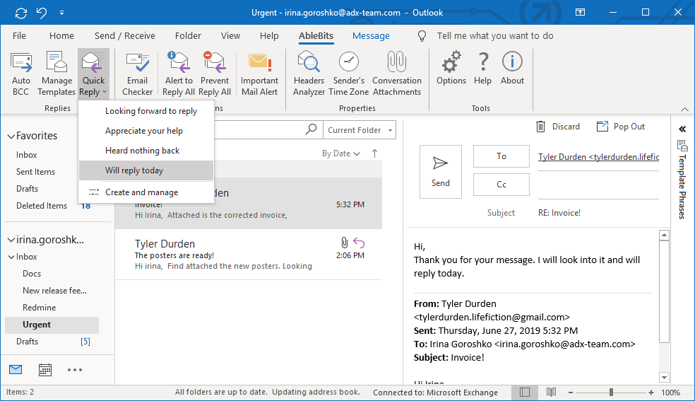 Quick Reply – add-in for instant replies in Outlook