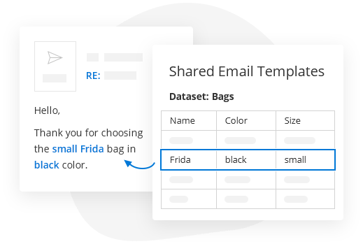 Bring values from datasets to templates