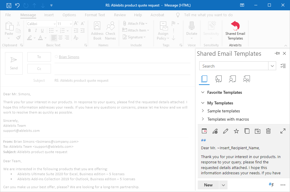 screenshot Shared Email Templates add-in