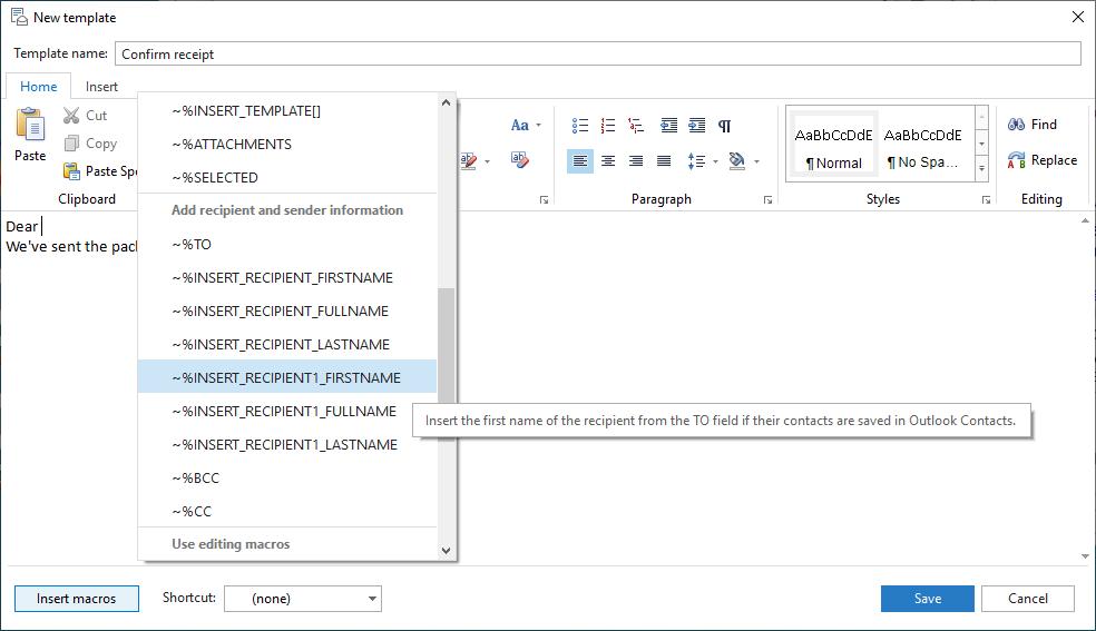 Take advantage of macros to simplify the sending experience