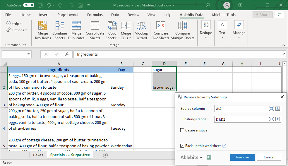 Do not forget to back up your worksheet when using the Remove Rows by Substrings tool