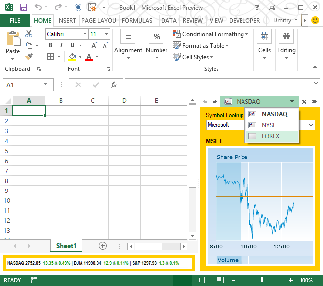 Advanced custom task pane in Excel