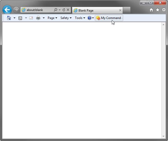 A custom button added to the main Internet Explorer toolbar