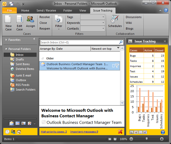 Three custom forms embedded into an Outlook Explorer window