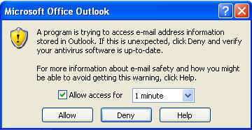 A program is trying to access e-mail address information stored in Outlook