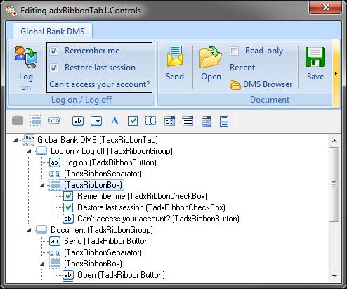 Visual designer for Ribbon tab
