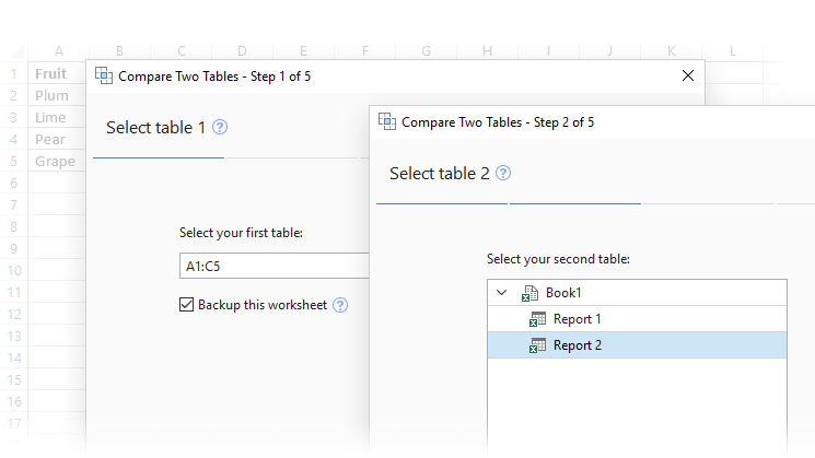 Select Excel tables to compare
