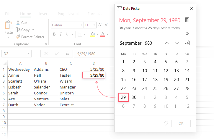 Excel Date Picker
