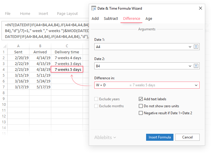 Date & Time Formula Wizard for Excel