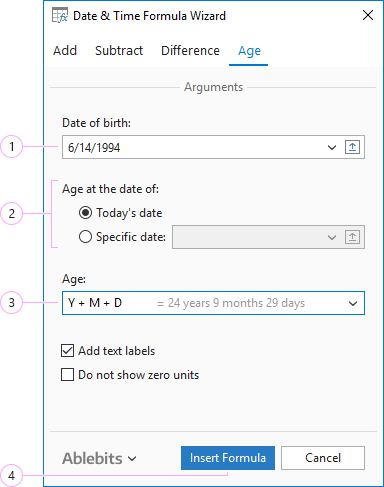 Calculate age in a couple of clicks