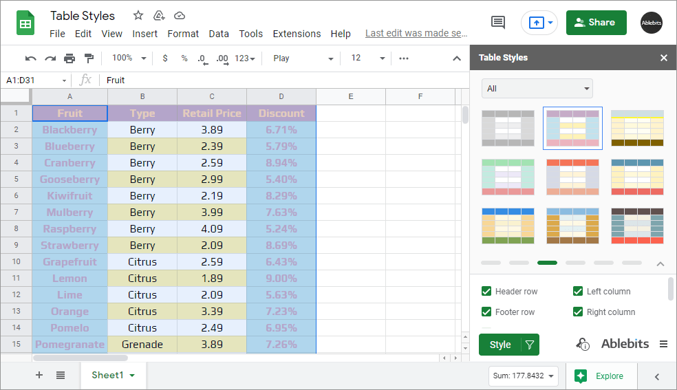 Table Styles add-on for Google Sheets