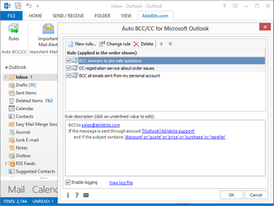 Automatically BCC in Outlook 2016, 2013-2007