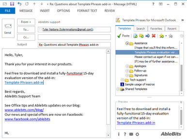 Reply to email with template in Outlook 2016, 2013-2007
